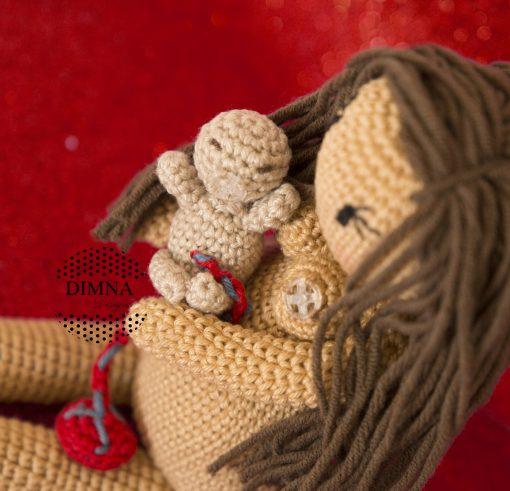 Muñeca parto, parto lotus y lactancia ganchillo Freya