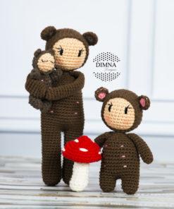 familia de osos amigurumi DimnaDesigns.com