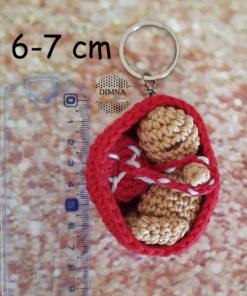 Patrón para realizar bebé con placenta en saquito (útero) de ganchillo tejido por dimnadesigns.com
