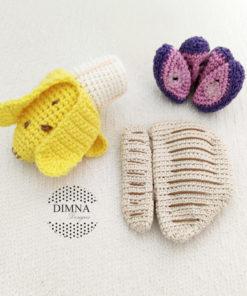 Alimentación infantil BLW, plátano, uva y pechuga tejidos a ganchillo por Dimna Designs